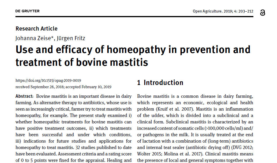 étude homeopathie et mammite bovine